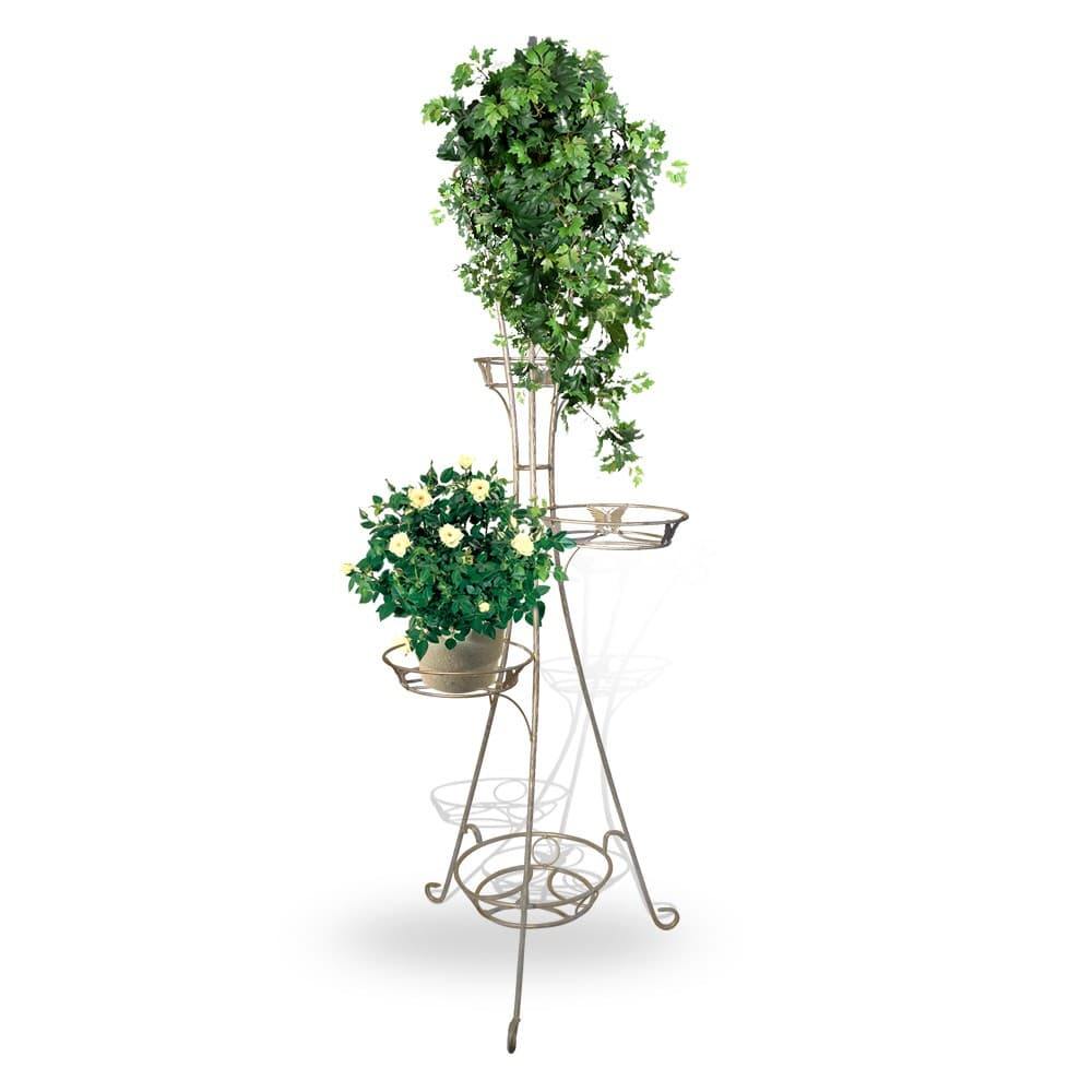 Кованая стойка для цветов белой покраски