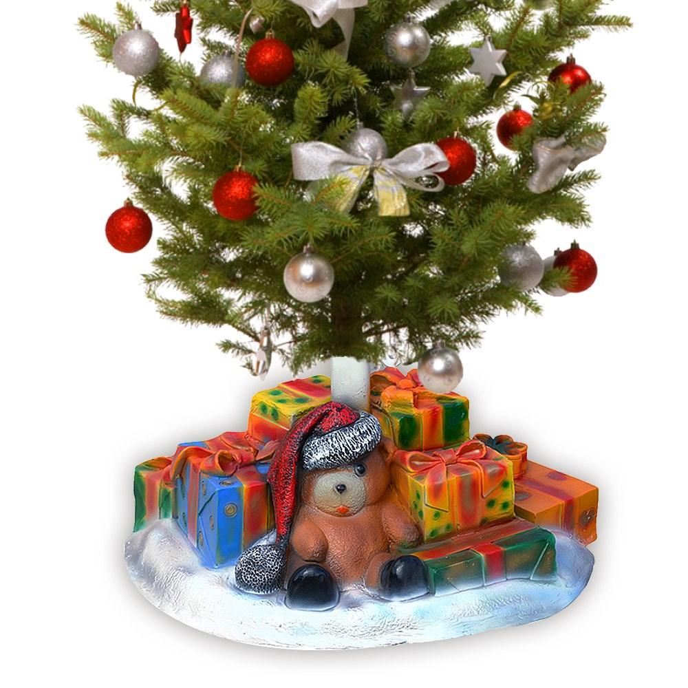 Подставка для елки из стеклопластика медведь с подарками