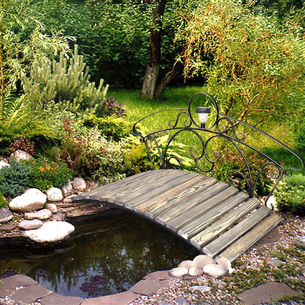 Садовый мостик с фонарем