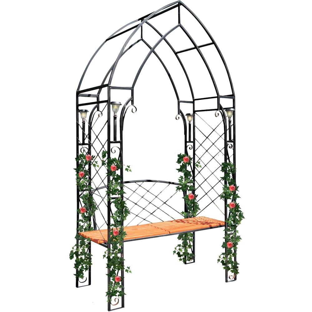 Кованая арка для дачи со скамейкой