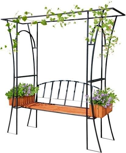 Садовая арка со скамьей и цветочными кашпо