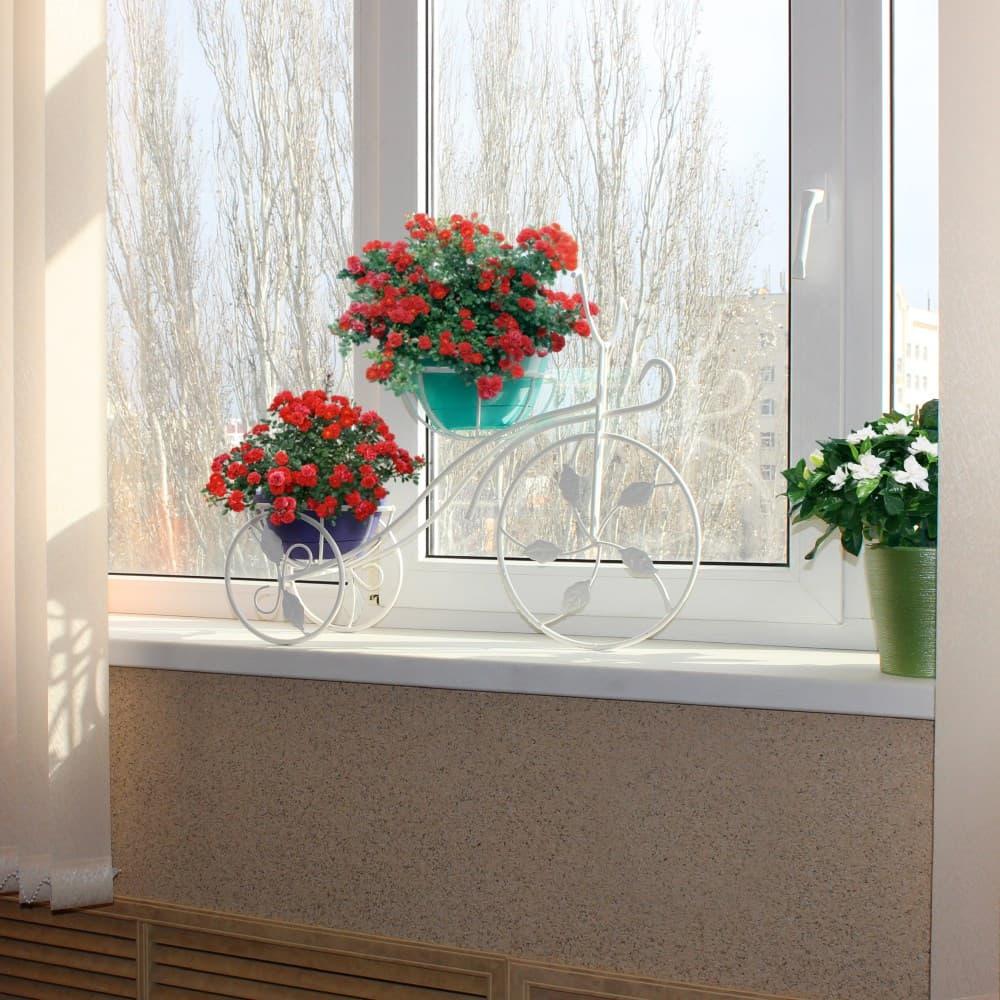 Подставка для цветов на подоконник белая
