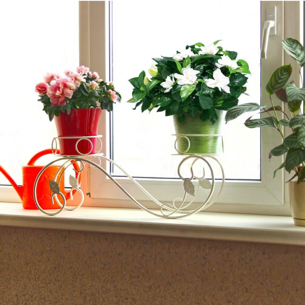Подставка на подоконник белая для 2-х цветов