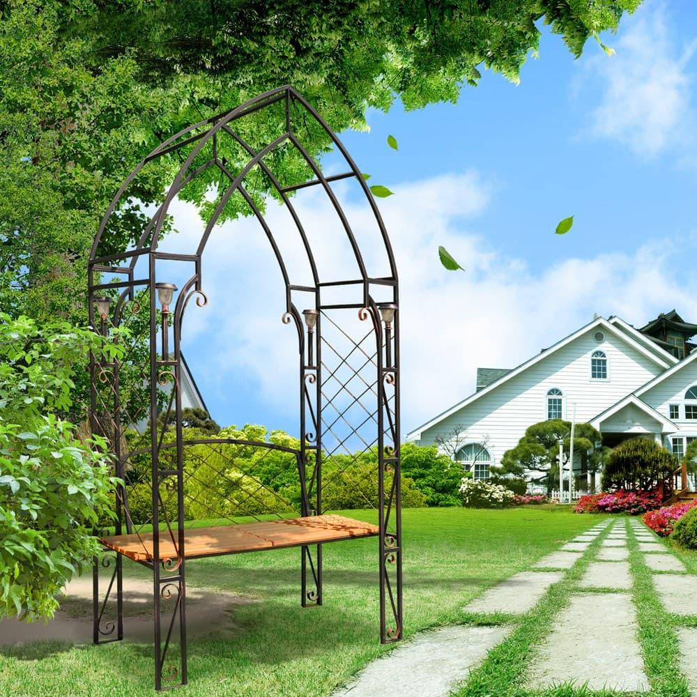 Садовая беседка арка со скамейкой