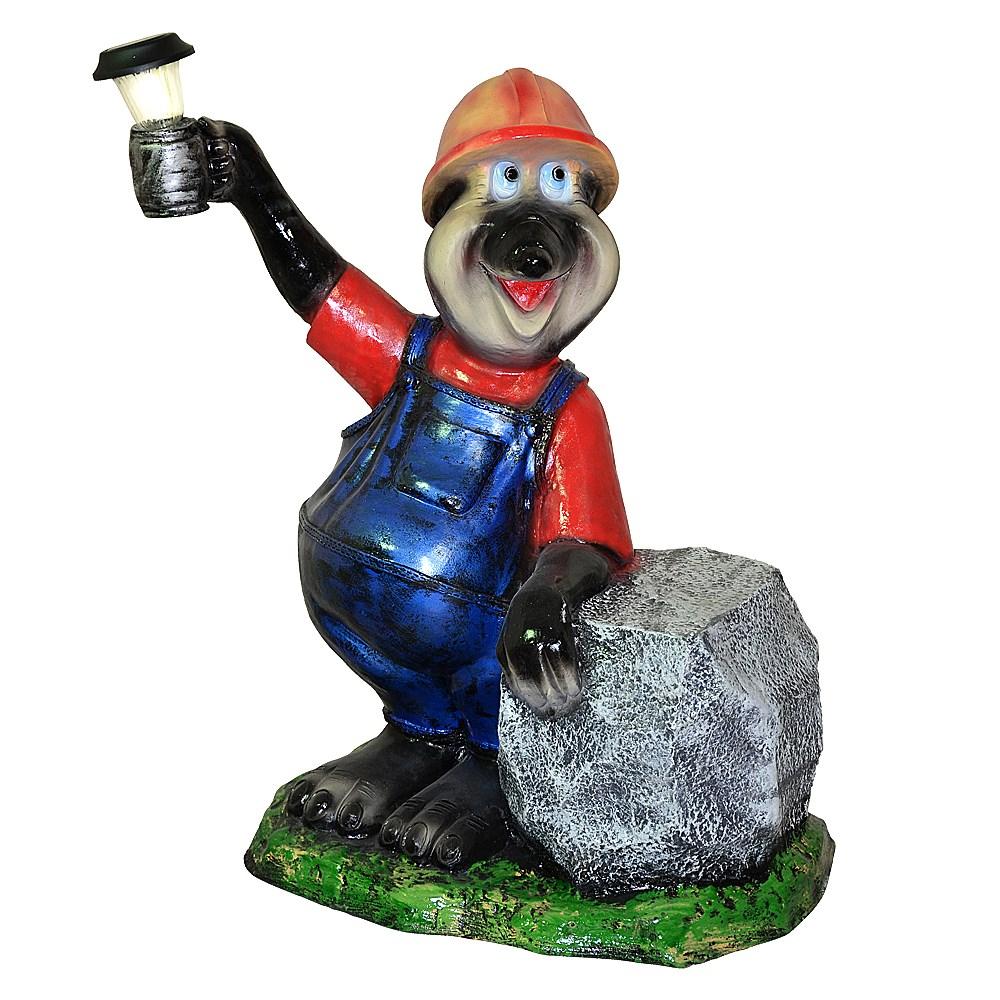 Фигура для сада Крот шахтер с фонарем - фото 11923