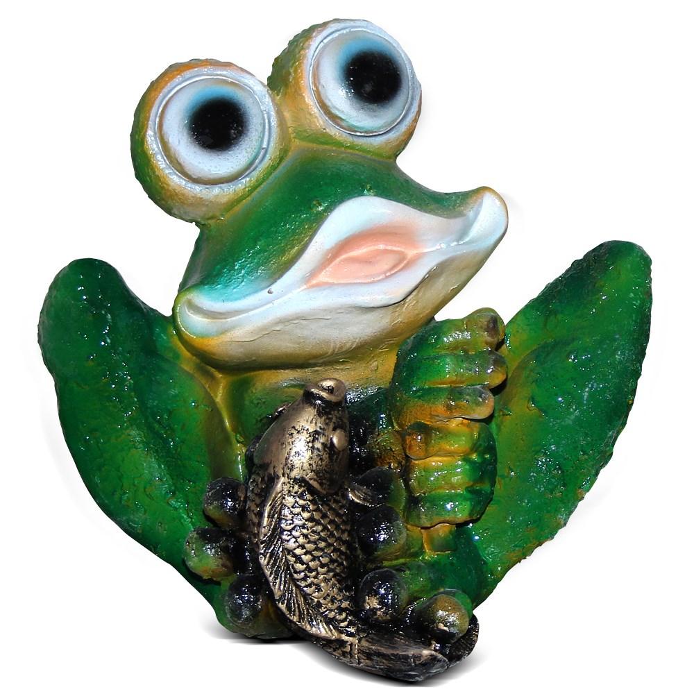 Фигура для сада Лягушка сидит с рыбкой - фото 13717
