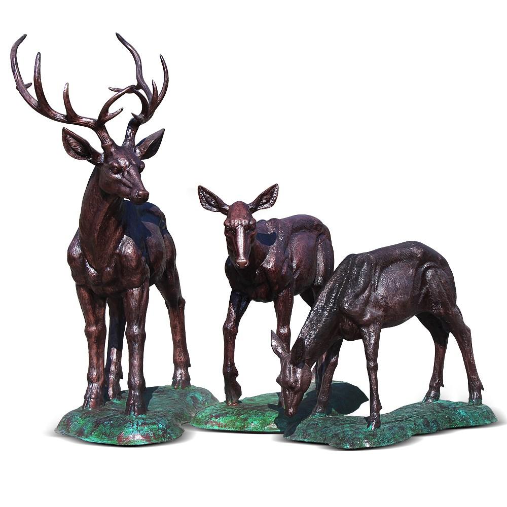 Комплект садовых фигур Олени под бронзу - фото 14054