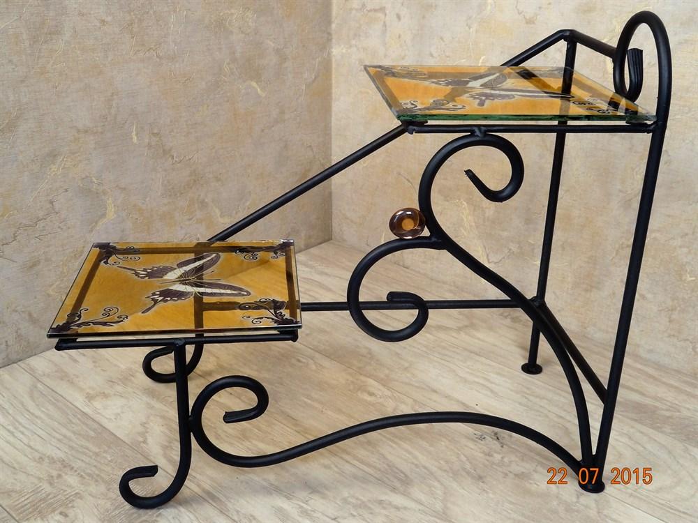 Кованая цветочница со стеклянными полками - фото 14898
