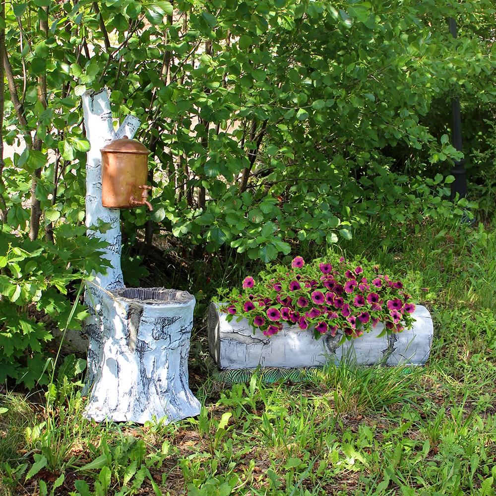 Кашпо для цветов в виде березового бревнышка