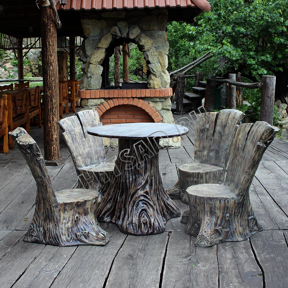 Комплект садовой мебели Пеньки - фото 15115
