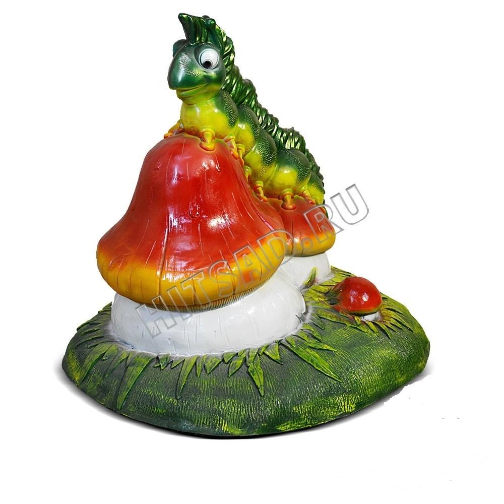 Фигура для сада Гусеница на грибочке - фото 17585