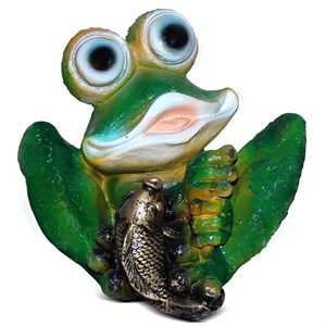 Фигура для сада Лягушка сидит с рыбкой
