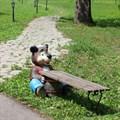 Садовая скамейка медведь