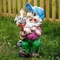 Садовая фигура гном с зайчиком