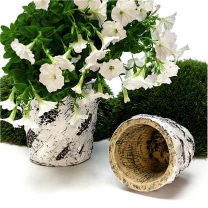 Черно-белое кашпо для цветов