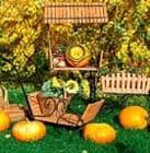 Декоративные тележки для осеннего декора