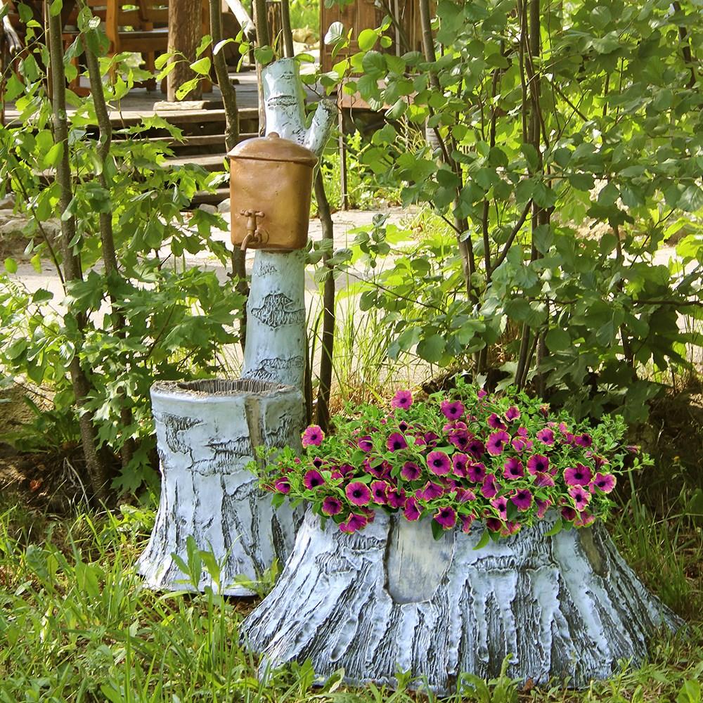 Вазон для цветов в виде березового пня