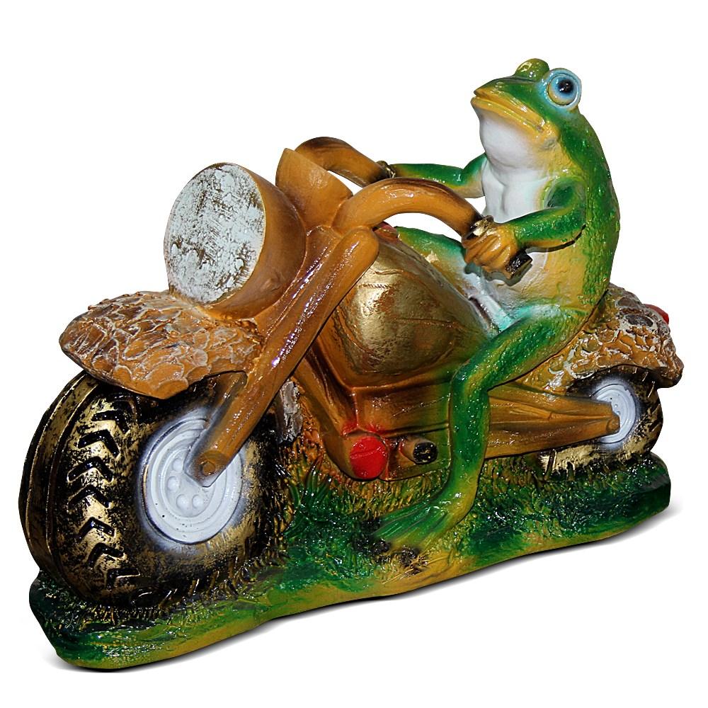 Лягушка мотоциклист фигура для сада - фото 14180