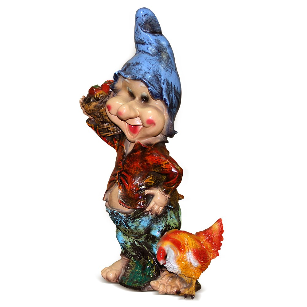 Фигура для сада Гном с курицей - фото 14190