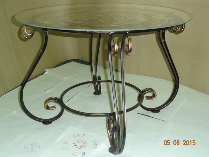 Стеклянный журнальный столик Часы - фото 14464