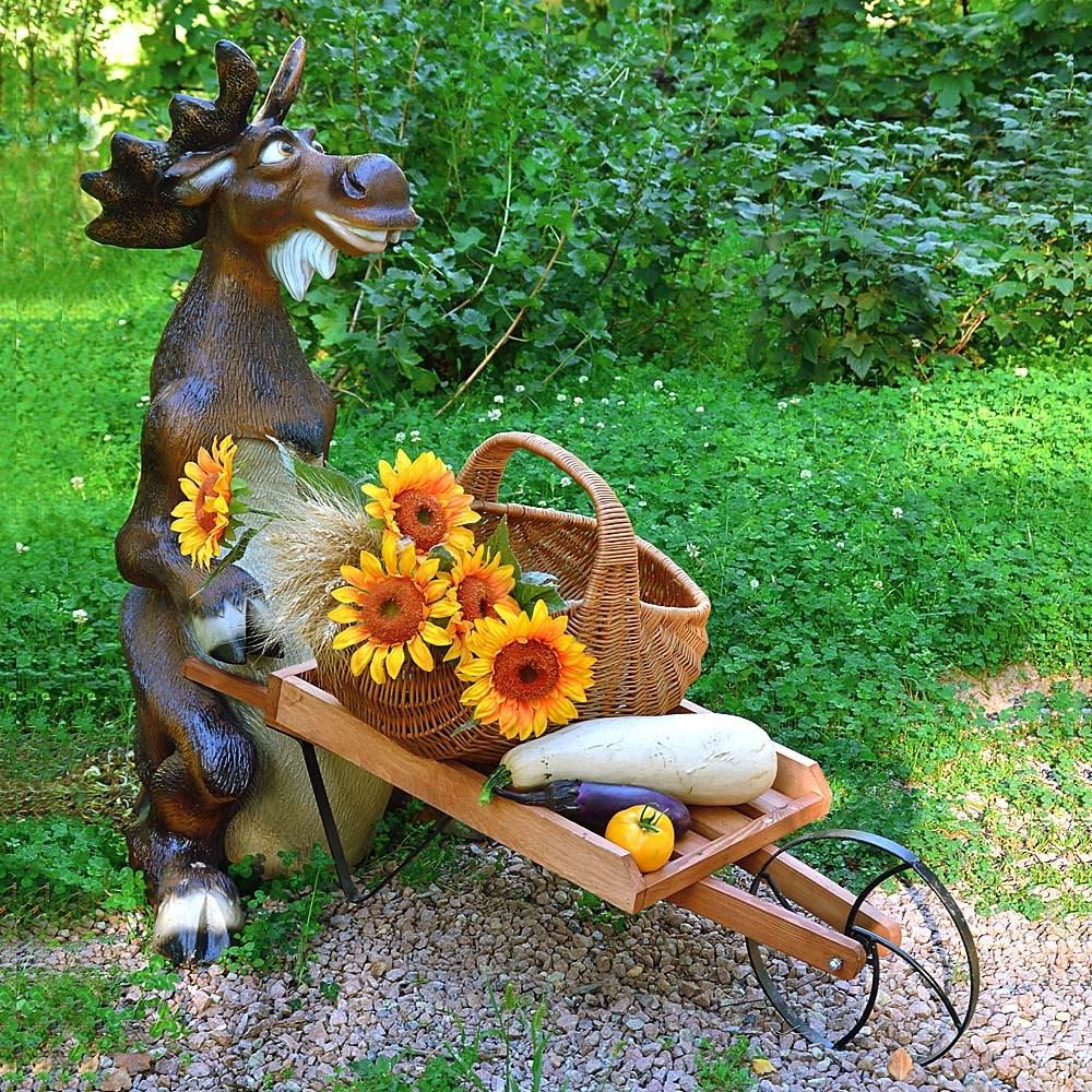 Комплект садовых фигур Лось с тележкой - фото 14982