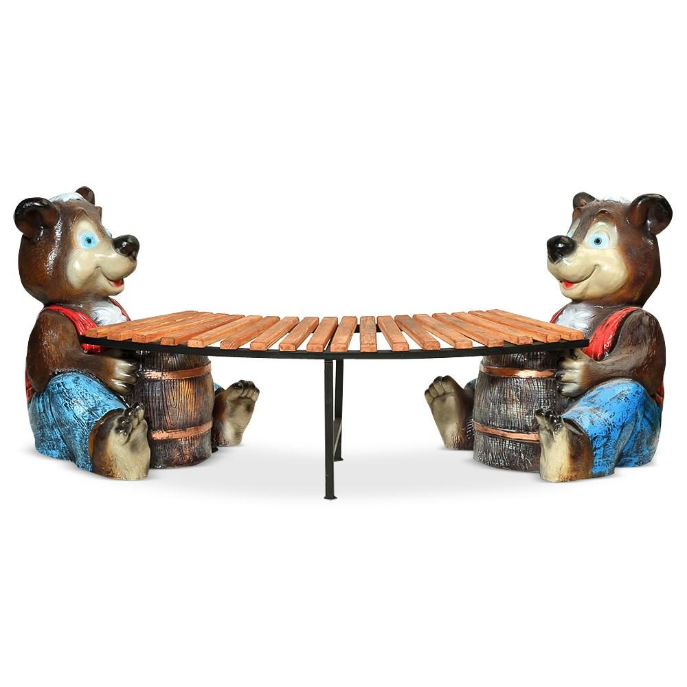 Скамейка медвежата для сада