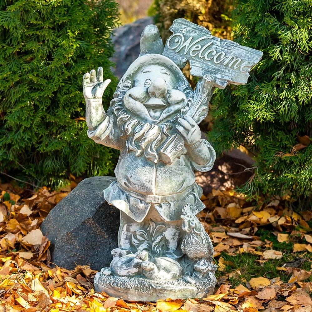Фигура садовая Гном с табличкой