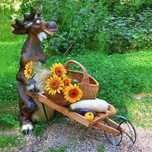 Комплект садовых фигур Лось с тележкой