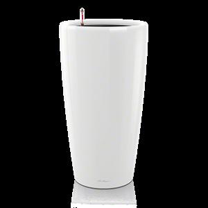 Белое кашпо с внутренним горшком