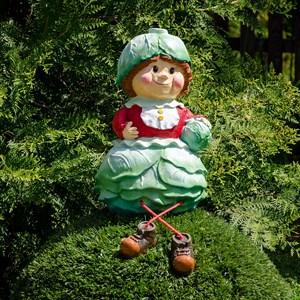 Фигура садовая Гном девочка капуста