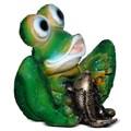 Фигура для сада Лягушка сидит с рыбкой - фото 13718