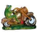 Лягушка мотоциклист фигура для сада - фото 14179