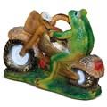 Лягушка мотоциклист фигура для сада - фото 14181
