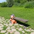 Дачная скамейка Еж с кирпичем - фото 14584