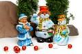 Садовая фигура Снеговик с метлой - фото 39923