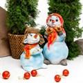 Садовая фигура Снеговик с птичкой - фото 39924